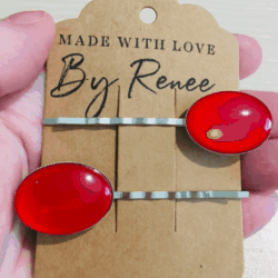 Bright Red Oval Hair Pins – Silver – suits most hair types – sold in pairs