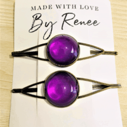 Pretty Purple Hair Pins – Bronze – sold in pairs – Suits most hair types
