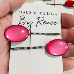 Bright Pink Oval Hair Pins – Dark Silver – suits most hair types