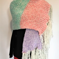 Hand knitted Chunky Rainbow Shawl / Wide Scarf – Super warm – Acrylic Wool Blend – Free Postage