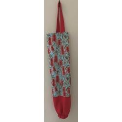 Reusable Grocery Bag Holder – Light Blue Bottle Brush & Red