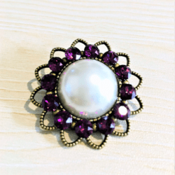 Pretty Faux Pearl with Purple Swarovski Crystal Brooches / Shawl Pins / Embellishments – Gift Boxed