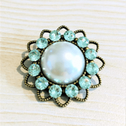 Pretty Faux Pearl with Green Swarovski Crystal Brooches / Shawl Pins / Embellishments – Gift Boxed