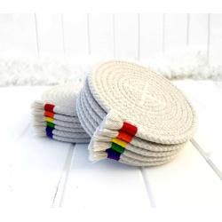 Rainbow drink coasters, set of 6 rope coasters, absorbent mug rug, housewarming gift, colourful kitchen decor