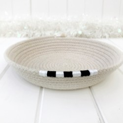 Coiled rope trinket dish with black and white feature, natural cotton rope bedside catchall in team colours – made with Australian rope
