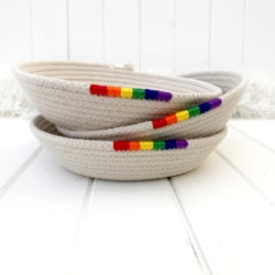 Coiled rope trinket dish with rainbow feature, natural cotton rope made in Australia, jewellery dish, rainbow pride