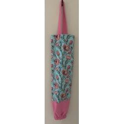 Reusable Grocery Bag Holder – Light Blue Protea & Pink
