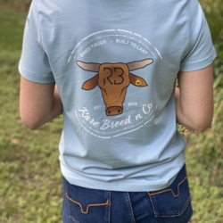 The Fair Dinkum Range – Ladies signature tee – Pale blue