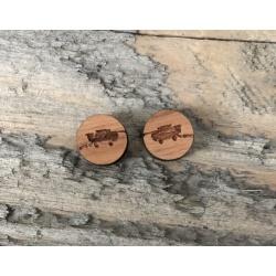 Wooden Header Stud Earrings
