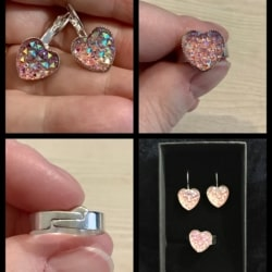 Pretty Pale Pink Heart Lever Back Earrings and Ring Set