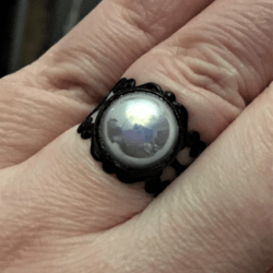 Striking Pearlized White Faux Pearl in Black Filigree Adjustable Ring