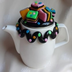 Licorice Allsorts Teapot with Licorice Strap