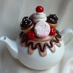 Chocolate Cherry Macaron Lovers Teapot