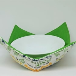 Reversible Bowl Cosy, Sweet on the inside theme, hot soup bowl holder, microwave bowl holder. Free Shipping