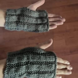 Hand Knitted Wrist Warmers .
