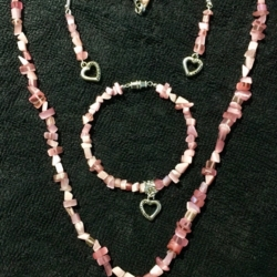 Rose Quartz Necklace Set (handmade)