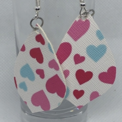 Coloured Hearts Leather Earrings