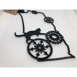 Black Cat on Cogwheels Necklace