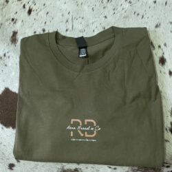 Mens/unisex signature tee – Olive green (front image)