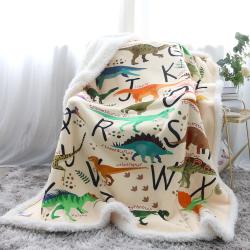 Dinosaur Alphabet Premium Plush Sherpa Blanket