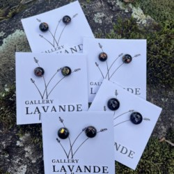 Handmade Glass Stud Earrings – Black with a hint of sparkle