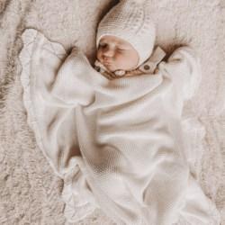 Heirloom knit blanket white