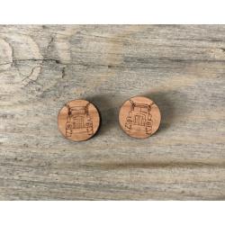 Wooden Truck Stud Earrings