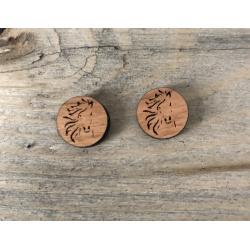 Wooden Wild Horse Stud Earrings