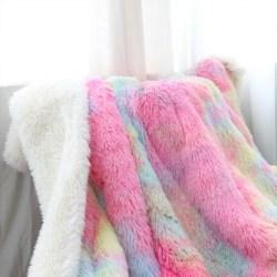 Fluffy Rainbow Unicorn Premium Plush Sherpa Blanket