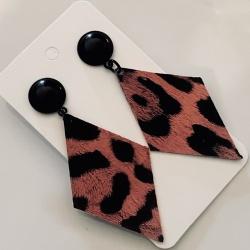 Leopard Print Faux Leather Diamond Earrings (Lead & Nickel Free)