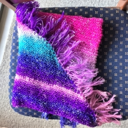 Soft Hand Knitted Sunset Shawl – Cotton and Acrylic Blend