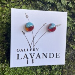Handmade Glass Stud Earrings – Blue and Red Marble