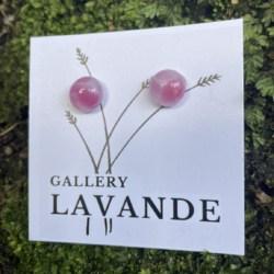 Handmade Glass Stud Earrings – Pinks Marble