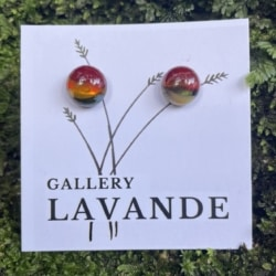 Handmade Glass Stud Earrings – Red and Blue Marble