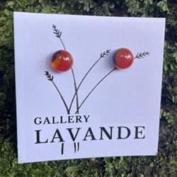 Handmade Glass Stud Earrings – Red Marble