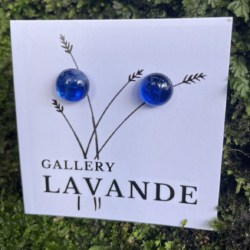 Handmade Glass Stud Earrings – Milky Sea Blue