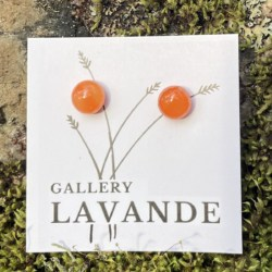 Handmade Glass Stud Earrings – Orange