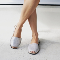 Silver Shimmer Leather Avarcas