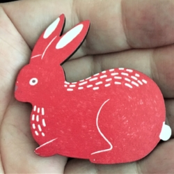 Cute Red Rabbit Brooches / Pins / Embellishments – Woodlands Red Set