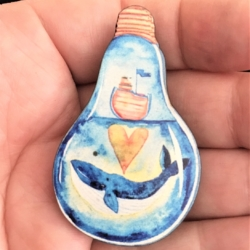 Pretty Blue Whale in Light Bulb Brooches / Pins / Embellishments