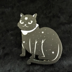 Cute Black Cat with Stars Brooches / Pins / Embellishments