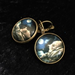 Precious Wolf in the Moonlight Lever Back Earrings – Bronze