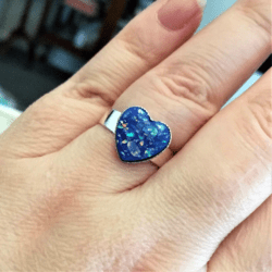 Pretty Blue Faux Opal Hearts Adjustable Silver (plate) Ring
