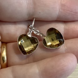 Pretty Light Yellow Faceted Hearts Lever back earrings – Stainless Steel