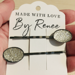 Pretty Oval Faux Crystal Hair Pins – sold in pairs – Dark Silver