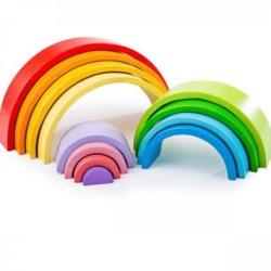 Bigjigs Toys Wooden Stacking & Nesting Rainbow – Large