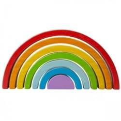 Bigjigs Toys Wooden Stacking & Nesting Rainbow – Small