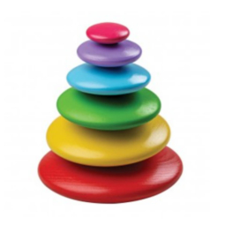 BigJigs Toys Wooden Rainbow Pebbles Stacking Toy