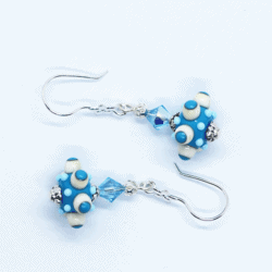 """""""Octopussi"""" – Artisan Glass bead earrings – blue and white multi coloured glass bead with blue Swarovski crystal bead"""