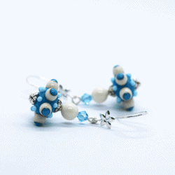 """""""Octopussi"""" – Artisan Glass bead earrings – blue and white multi coloured glass bead with white and blue Swarovski crystal bead"""